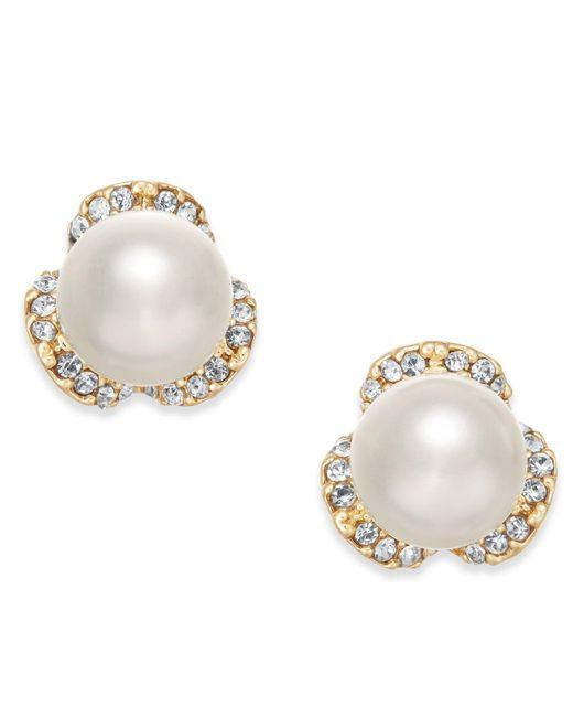 Charter Club - Metallic Gold-tone Imitation Pearl & Pavé Stud Earrings - Lyst