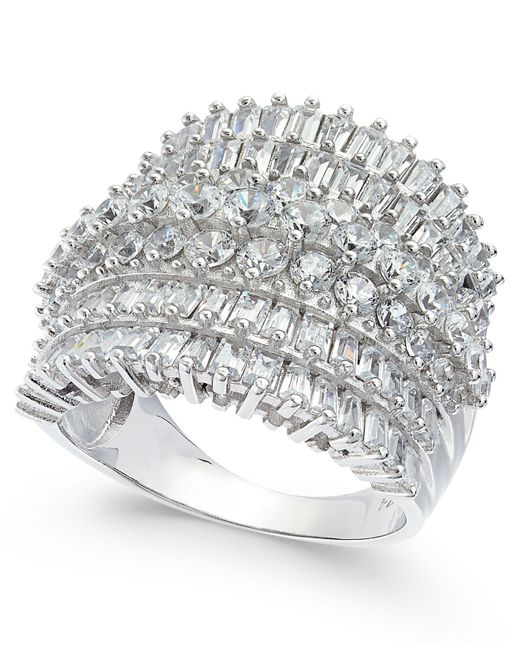 Macy's - Metallic Cubic Zirconia Multi-row Cluster Statement Ring In Sterling Silver - Lyst