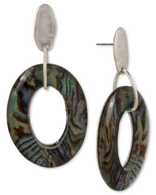 Robert Lee Morris | Metallic Silver-tone Abalone-look Gypsy Hoop Earrings | Lyst