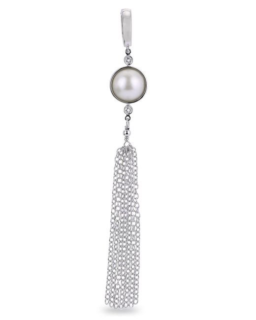 Macy's - Metallic Mabé Cultured Freshwater Pearl And White Topaz Tassel Enhancer In Sterling Silver - Lyst