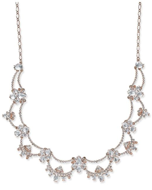 Kate Spade   Metallic Rose Gold-plated Crystal Scalloped Collar Necklace   Lyst