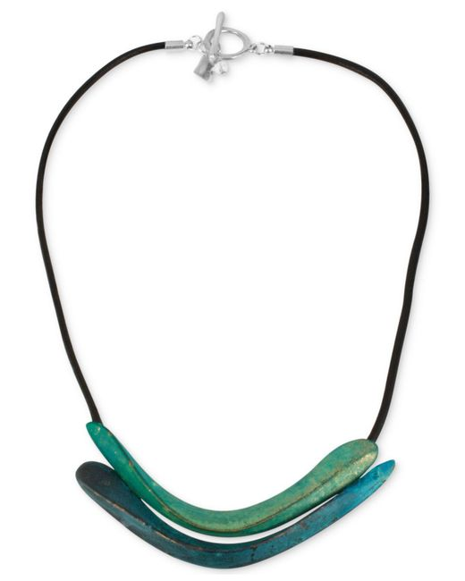 Robert Lee Morris - Green Silver-tone Sculptural Double Row Patina Frontal Necklace - Lyst