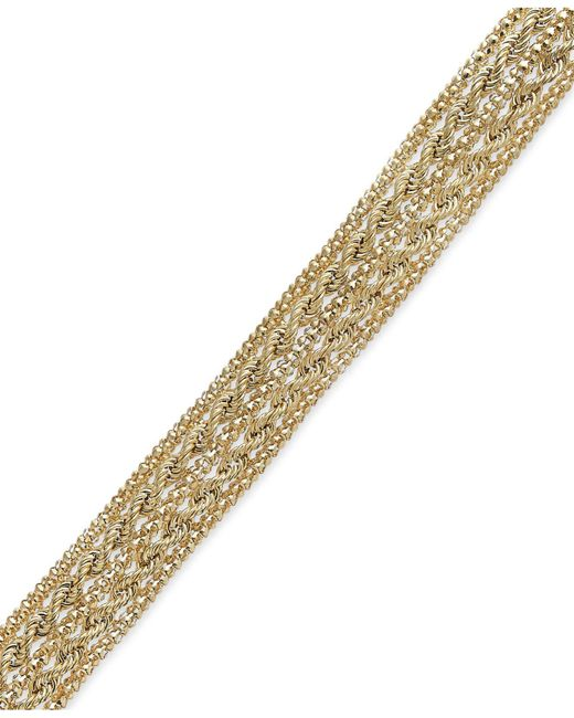 Macy's | Metallic Chain Rope Bracelet In 14k Gold | Lyst