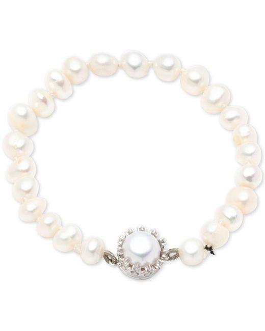 Carolee - Metallic Silver-tone Crystal & Freshwater Pearl (8mm) Magnetic Flex Bracelet - Lyst