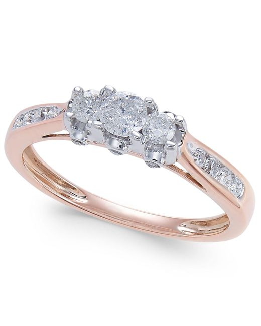 Macy's | Metallic Diamond Trinity Engagement Ring (1/2 Ct. T.w.) In 14k Rose Gold | Lyst