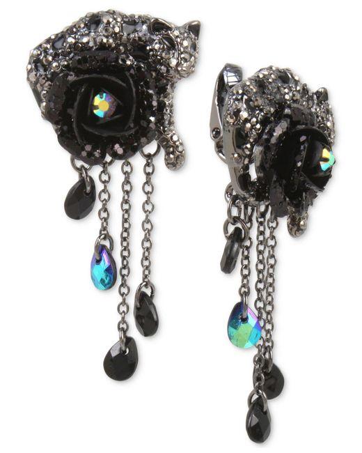 Betsey Johnson   Hematite-tone Black & Gray Pavé Flower & Jaguar Clip-on Drop Earrings   Lyst