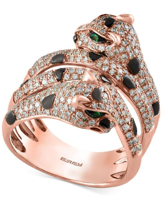 Effy Collection | Pink Diamond (1 Ct. T.w.) And Tsavorite Accent Panther Ring In 14k Rose Gold | Lyst