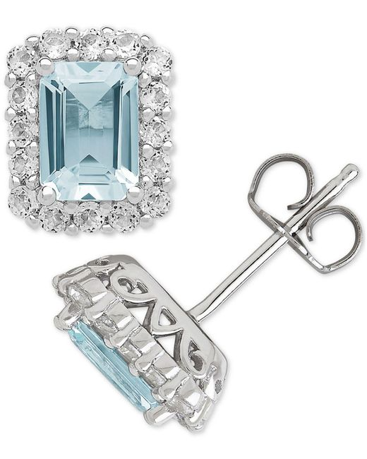 Macy's - Blue Aquamarine (1-3/4 Ct. T.w.) & White Topaz (3/4 Ct. T.w.) Stud Earrings In Sterling Silver - Lyst