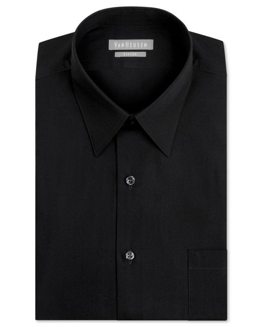 Van Heusen - Green Men's Fitted Poplin Dress Shirt for Men - Lyst