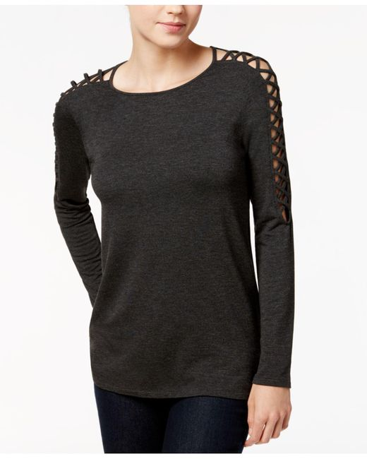 Kensie - Gray Crew-neck Lace-up-detail Sweater - Lyst