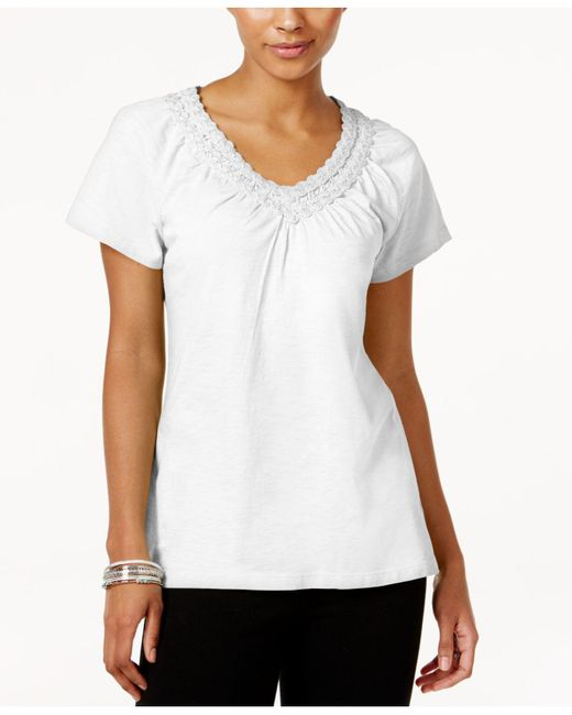 Karen Scott - White V-neck Crochet Top, Created For Macy's - Lyst