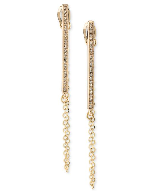 ABS By Allen Schwartz - Metallic Gold-tone Pavé Bar & Chain Linear Drop Earrings - Lyst
