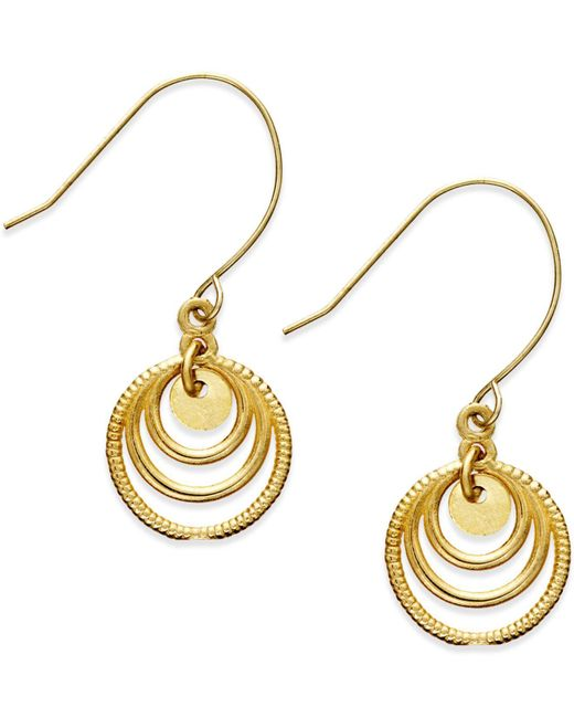 Macy's | Metallic Graduated Circle Drop Earrings In 10k Gold | Lyst
