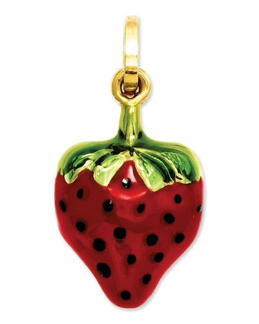 Macy's - Metallic 14k Gold Charm, Red And Green Puffed Strawberry Charm - Lyst
