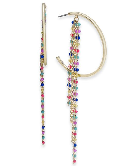 INC International Concepts - Metallic I.n.c. Gold-tone Multicolor Bead Fringe Hoop Earrings, Created For Macy's - Lyst