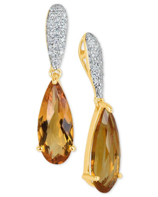 Macy's - Orange Citrine (2-1/2 Ct. T.w.) & Diamond (1/4 Ct. T.w.) Drop Earrings In 14k Gold - Lyst