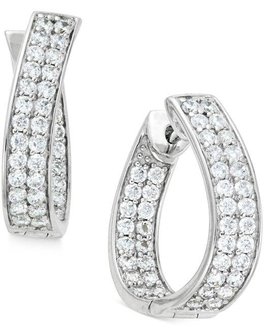Macy's - Metallic Diamond In-and-out Hoop Earrings (1-1/2 Ct. T.w.) In 14k White Gold - Lyst