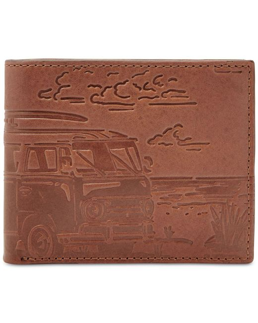 Fossil - Brown Cooper Embossed Leather Bifold Wallet for Men - Lyst