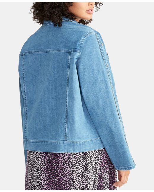 4d405f9ad15a1 ... RACHEL Rachel Roy - Blue Plus Size Bobbi Snap-sleeve Denim Jacket - Lyst
