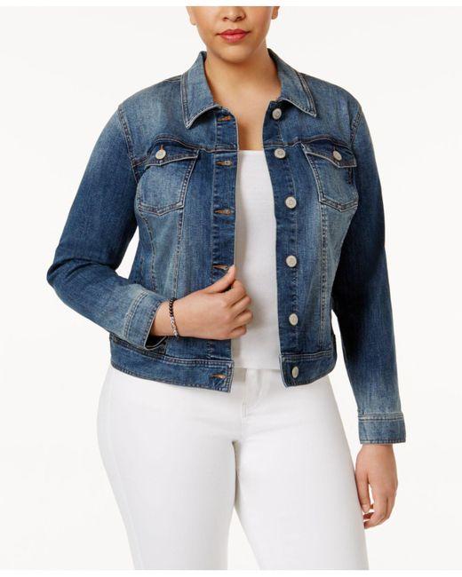Celebrity Pink - Blue Trendy Plus Size Denim Jacket - Lyst