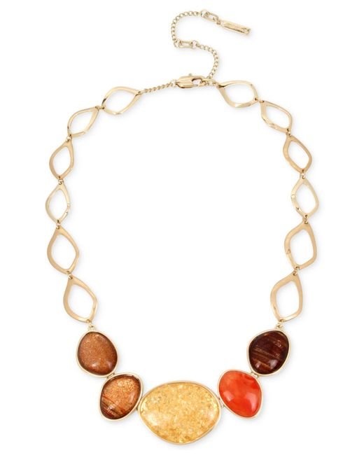 Kenneth Cole | Metallic Gold-tone Multicolor Stone Statement Necklace | Lyst