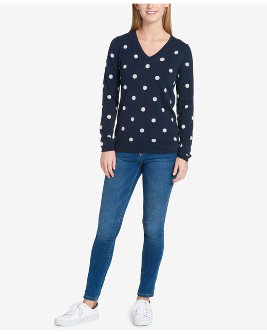 Tommy hilfiger Metallic Polka-dot Sweater in Blue | Lyst