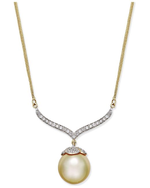 Macy's | Metallic Cultured Golden South Sea Pearl (12mm) And Diamond (3/8 Ct. T.w.) Pendant Necklace In 14k Gold | Lyst