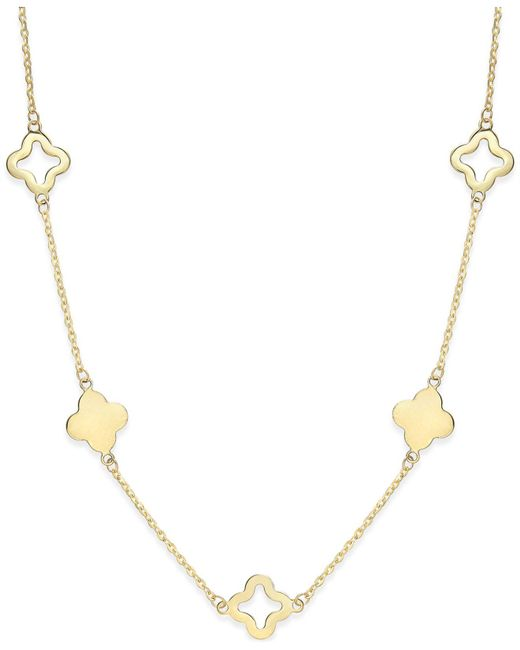 Macy's | Metallic Clover Necklace In 14k Gold | Lyst