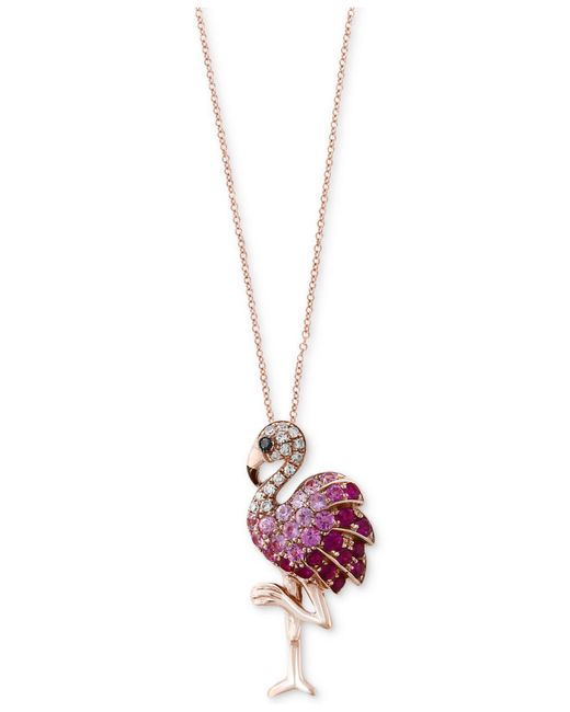 Effy Collection - Red Safari By Effy® Multi-gemstone (5/8 Ct. T.w.) & Diamond Accent Flamingo Pendant Necklace In 14k Rose Gold - Lyst
