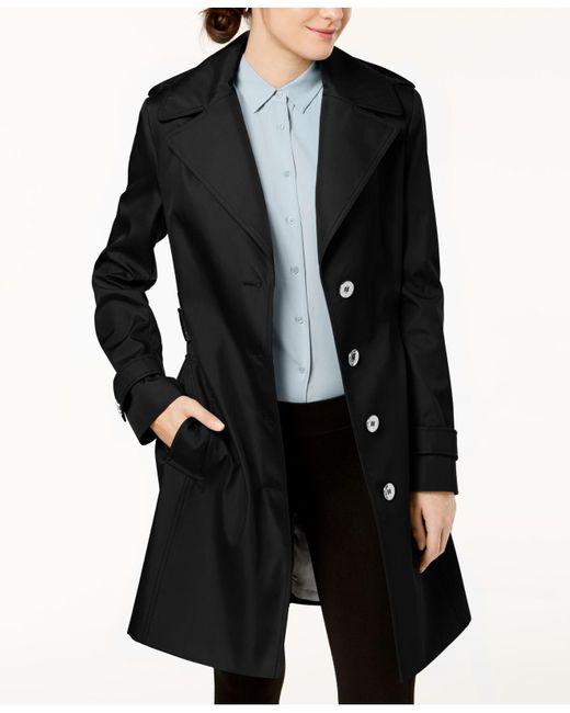 Calvin Klein - Black Belted Waterproof Trench Coat - Lyst