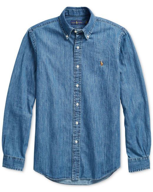 6ac4af968f3 ... Polo Ralph Lauren - Blue Classic-fit Denim Shirt for Men - Lyst ...