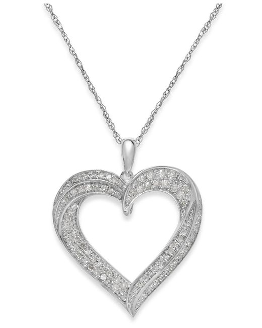 Macy's - Metallic Diamond Heart Pendant Necklace In Sterling Silver (1/3 Ct. T.w.) - Lyst