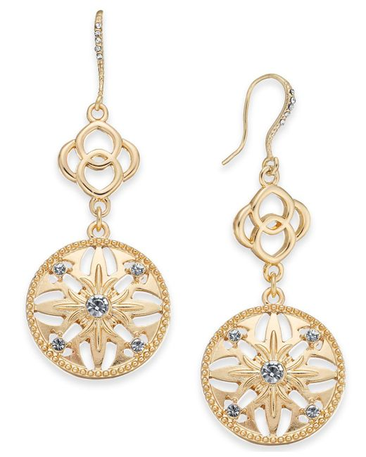 Charter Club - Metallic Gold-tone Crystal Double Drop Earrings, Created For Macy's - Lyst