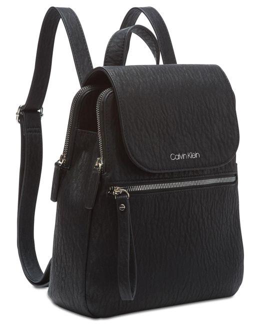 f03075c402dd ... Calvin Klein - Black Elaine Flap Backpack - Lyst ...