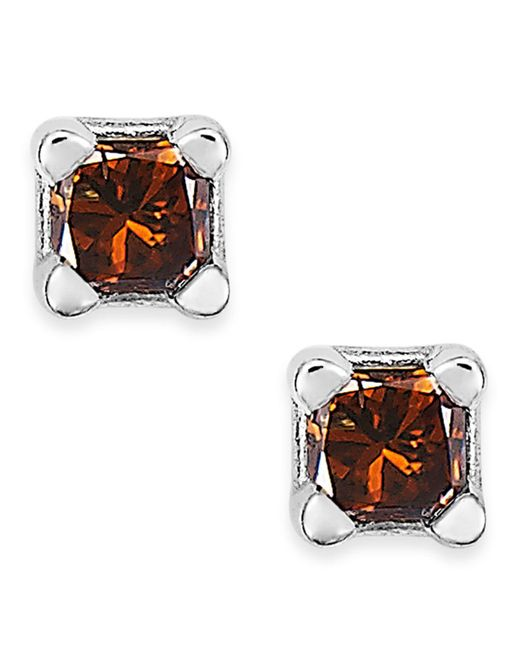 Macy's | 10k White Gold Red Diamond Stud Earrings (1/10 Ct. T.w.) | Lyst