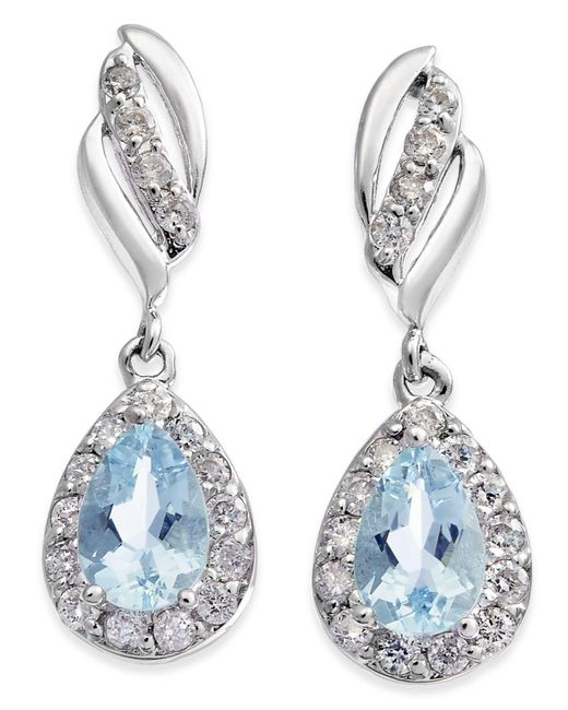 Macy's - Multicolor Aquamarine (3/4 Ct. T.w.) & Diamond (1/3 Ct. T.w.) Drop Earrings In 14k White Gold - Lyst