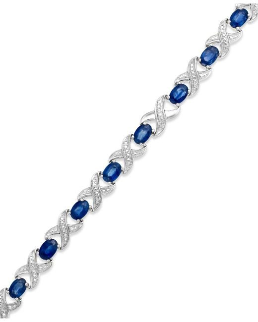 Macy's - Blue Sapphire (8 Ct. T.w.) And Diamond Accent Xo Bracelet In Sterling Silver - Lyst