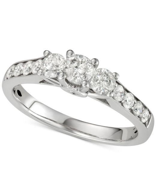 Macy's - Metallic Diamond Three-stone Engagement Ring (1 Ct. T.w.) In 14k White Gold - Lyst