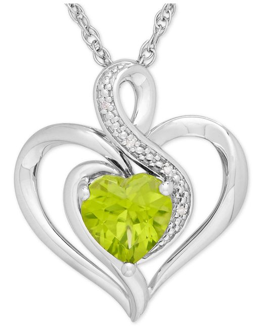 Macy's - Green Peridot (1-1/3 Ct. T.w.) And Diamond Accent Heart Pendant Necklace In Sterling Silver - Lyst