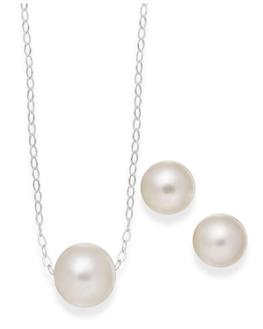 Macy's - White Cultured Freshwater Pearl Classic Jewelry Set In Sterling Silver (8-10mm) - Lyst