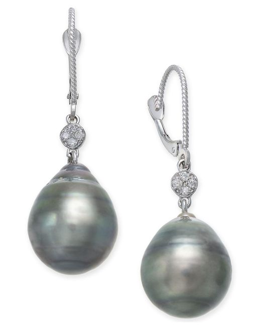 Macy's - Multicolor Cultured Black Tahitian Pearl (12mm) And Diamond Accent Drop Earrings In 14k White Gold - Lyst