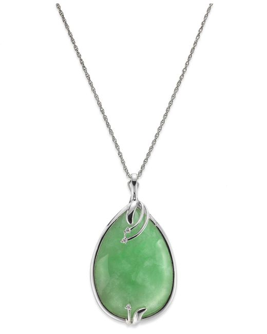 Macy's - Metallic Streling Silver Jade (25x35mm) And Diamond Accent Pendant Necklace - Lyst