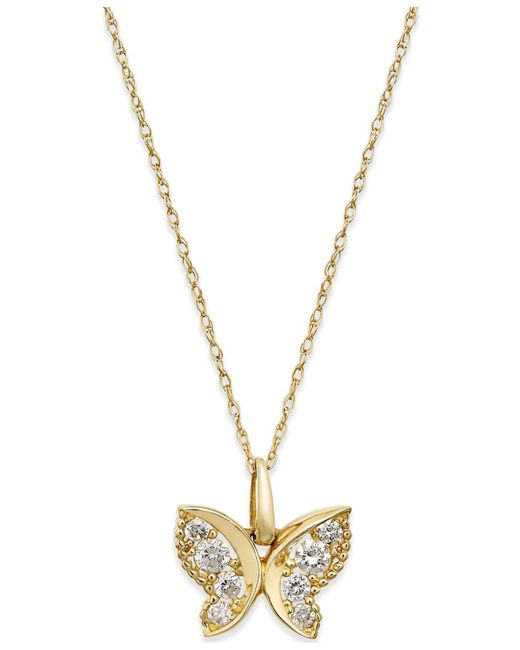 Macy's | Metallic Cubic Zirconia Butterfly Pendant Necklace In 10k Gold | Lyst
