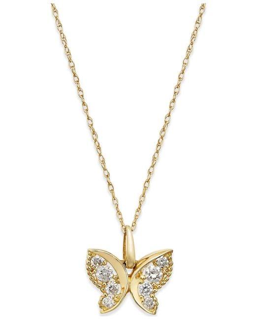 Macy's - Metallic Cubic Zirconia Butterfly Pendant Necklace In 10k Gold - Lyst