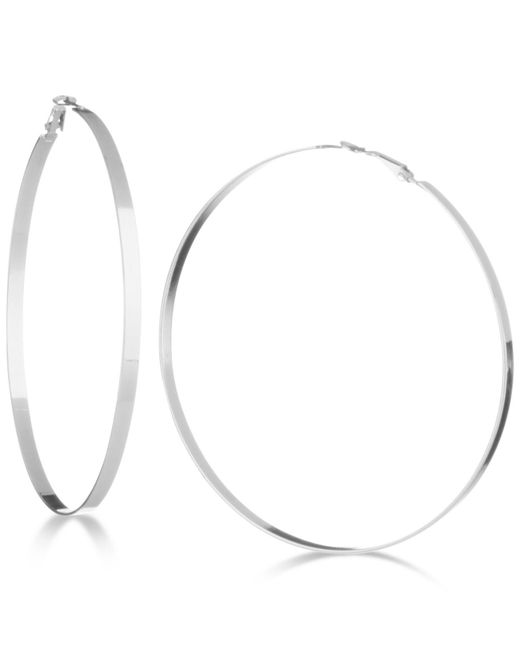 Guess - Metallic Flat-edge Hoop Earrings - Lyst