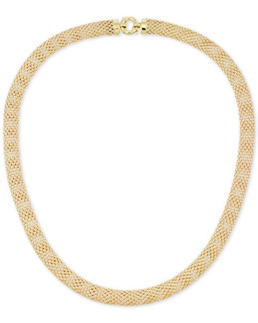 Macy's - Metallic Textured Mesh Necklace In 14k Gold - Lyst