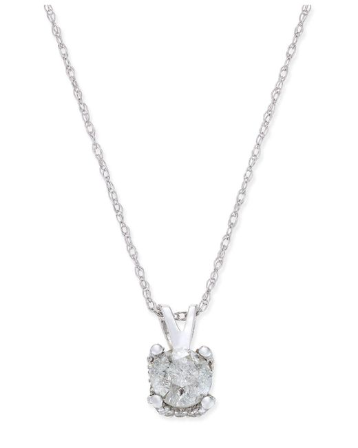 Macy's - Metallic Diamond Solitaire Pendant Necklace (1/2 Ct. T.w.) In 14k White Gold - Lyst