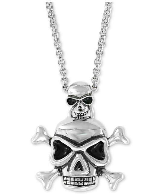 """Effy Collection - Metallic Skull Pendant Necklace, 20"""" + 2"""" Extender In Sterling Silver - Lyst"""