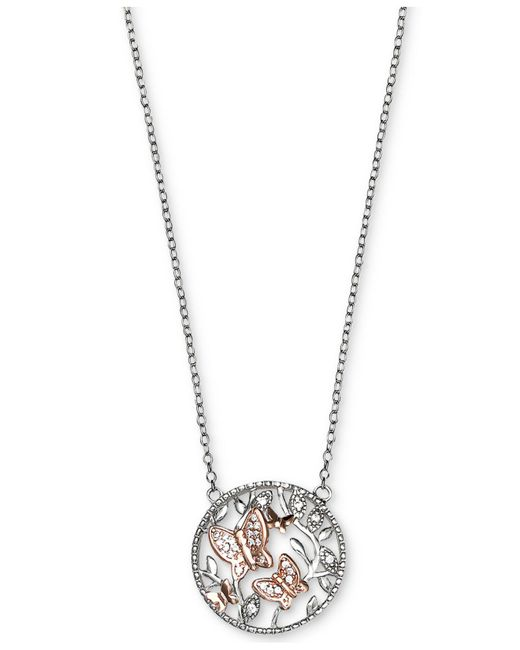 Giani Bernini | Metallic Cubic Zirconia Butterfly Disc Pendant Necklace In Sterling Silver And 18k Rose Gold-plate | Lyst