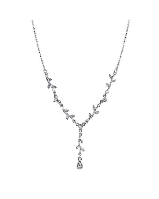 "2028 - Metallic Silver-tone Crystal Vine Necklace 16"" Adjustable - Lyst"